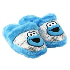 SESAME STREET Plush Slippers Cookie Monster Sizes 11-12, 13-1, 2-3 Blue Fur