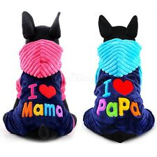 Pet Soft Fleece Hooded Coat I Love Papa/Mama Warm Winter Apparel Cat Dog Clothes