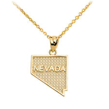 10k Yellow Gold Nevada State Map United States Pendant Necklace