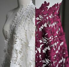 1Yd Bridal Wedding Floral Lace Cotton Fabric Embroidery Water Soluble Milk Silk