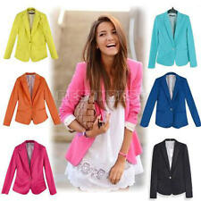 Stylish Womens Long Sleeve One Button Candy Color Blazer Slim Jacket Suit Coat