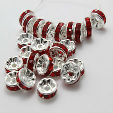 100PCS Fashion Czech Crystal Rhinestone Silver Rondelle Spacer Beads 6mm 8mm