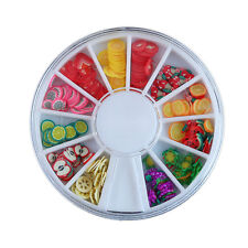 120X 3D Mix Fimo Nail Art Nail Tips Polymer Clay Slices Decor Wheel Colorful QWC