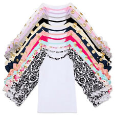 New Icing Ruffle Tops Baby Girls Toddler Kids Golden Dots Cotton Blouse T-shirts