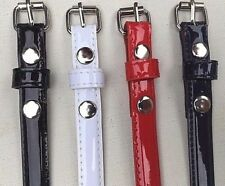 "Women's 1/2"" Skinny Stitching Feather Edged Faux Patent Leather Belts"