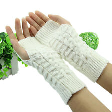Women Crochet Braided Wrist Hand Arm Warmer Knitted Mitten Fingerless Gloves Hot