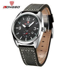 LONGBO Mens Military Leather Quartz Watches Analog Date Calendar Wrist Watches