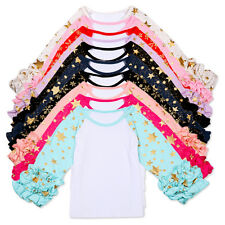 New Shiny Stars Tops Baby Girls Toddler Kids Long Boutique Icing Ruffle T-shirts