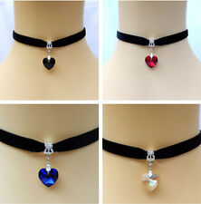 Adjustable Velvet Cord Choker Necklace Wiccan Pagan Gothic Crystal Heart Gift