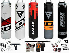 RDX 13pc Heavy Filled Punch Bag Boxing Gloves Set Bracket Chains MMA Kickboxing