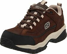 Skechers SOFT STRIDE Mens Brown/Taupe STEEL TOE Slip Resistant Work Shoes