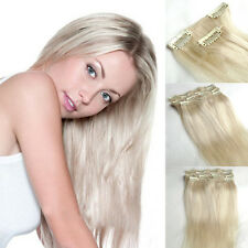 #60 Platinum Blonde Straight Clips In Human Hair Extensions 7pcs/set 16''-30''