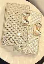 New  PU leather flip case cover with 3D bling ribbon for apple iphone samsung