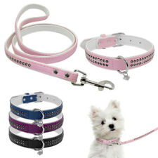 Soft Bling Rhinestone Dog Cat Collars and Diamante Leads Set  With Heart Pendant
