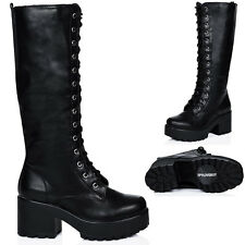 WOMENS BLOCK HEEL CLEATED SOLE LACE UP PLATFORM KNEE HIGH BOOTS AUS 5 - 10