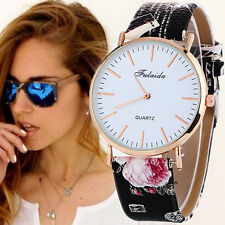 Fashion Women Lady Watch Stainless Steel Leather Analog Quartz Dial Wrist Watch