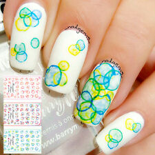 1 Sheet Colorful Bubble Manicure Water Transfer Decals Nail Art Stickers