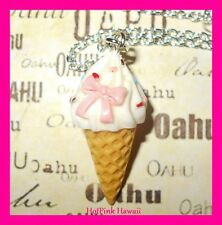 Large 3D Ice Cream Cone Bow Sprinkles Silver Plated Retro Necklace USA HANDMADE