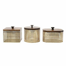Glenda Perforated Gold Metal Canister with Walnut Solid Wood Lid