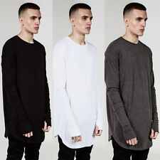 Hipster Mens Thumb Hole Cuffs Long Sleeve T-Shirt Basic Tee Hip Hop Clothes