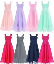 Girls Long Dress Flower Princess Sleeveless Formal Party Wedding Bridesmaid Prom