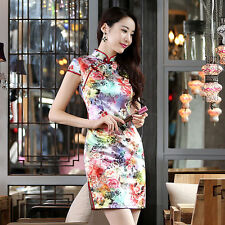 new spring summer Retro Style ms colorful paintings fashion printing qipao dress