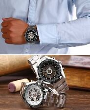 Fashion Men Skeleton  Automatic Mechanical Wrist Watch Stainless Steel Band Hot