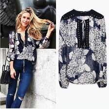 NEW ZARA STUDDED BUST SILK PRINTED SHIRT BLOUSE SOLD-OUT SIZE XS S M