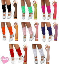 LEG WARMERS AND FISHNET GLOVES 1980'S NEON FANCY DRESS COSTUME ACCESSORY SET