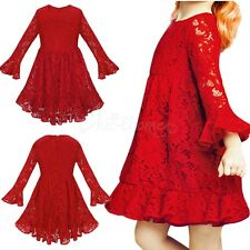 Pageant Flower Girl Dress Kid Floral Lace Princess Red Birthday Party Dress Gown