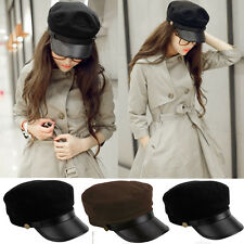 Cadet Military Navy Sailor Flat Top Hat Women Men Army Leather Cap One Size Hot