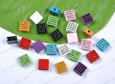 Free Shipping 10/20Pcs Square Alloy Crystal 10X10MM Beads FOR Pave Disco Balls