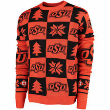 Oklahoma State Cowboys Black Patches Ugly Pullover Sweater - College