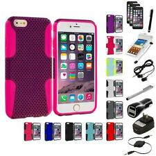 For Apple iPhone 6 (4.7) Hybrid Rugged Mesh Case+10X Accessory Bundle