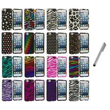Zebra Polka Dot Hard Design Case Cover+Metal Pen for iPod Touch 5th Gen 5G
