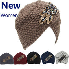 Women's Lady Beret Braided Baggy Beanie Crochet Warm Winter Hat Ski Cap Wool AS