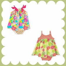 Two Baby Girl Rare Editions BabyDoll Dress & Bloomers Set Summer Boutique 12-24M