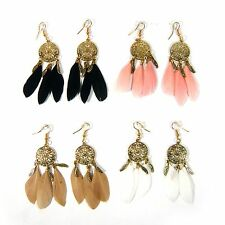 Real Feather Chandelier Gold Metal Hook Earrings Dangle Drop Fashion Jewelry New