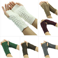 New Fashion Women Arm Hand Winter Warmer Mitten Long Fingerless Gloves Solid Hot