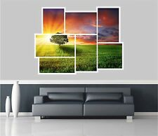 Huge Collage View Red Sunset Over Meadow Wall Stickers Wallpaper S33