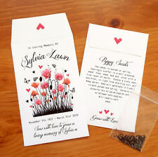 Personalised Poppy Seeds -  Funeral/Memorial - Gifts/Favours/Tributes