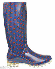 Womans Girls Blue, Red Umbrella Festival Snow Wellies Welly Boots Size 3 4 5 6 7