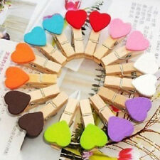 Lots Wholesale Wooden Heart Clips Photo Pegs Craft Wedding Party Decor