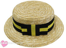 DELUXE STRAW BOATER HAT BLACK YELLOW BAND 1920S FANCY DRESS VICTORIAN BARBERSHOP