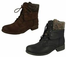 F50613- Ladies Spoton Lace Up Ankle Boots 2 Colours- Great Price