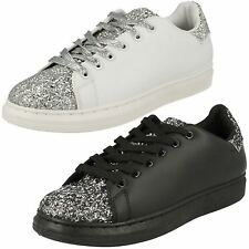 F80191- Ladies Spoton Lace Up Trainers/Pumps With Glitter Detail- 2 Colours