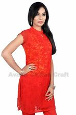 Crochet Sleeve less Hand Embroidered Lucknow CHIKAN KURTI TopDressK101