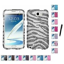 For Samsung Note 2 N7100 Diamond Diamante Bling Rhinestone Case Stylus Pen