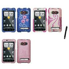 For HTC Evo 4G Diamond Diamante Bling Rhinestone Case Cover Stylus Pen