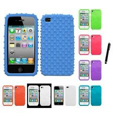 For Apple iPhone 4/4S Silicone Skin Rubber Soft Case Phone Cover Stylus Pen